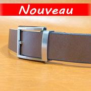 Ceinture cuir  - Fabrication Française -  Marron Foncé  -  3,5cm  -  Homme/Femme     www.Tribu-Cuir.com     Boucle n°035