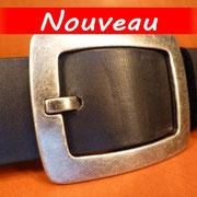 Ceinture cuir  - Fabrication Française -  Noir  -  4cm  -  Homme/Femme   www.Tribu-Cuir.com  Boucle n°012