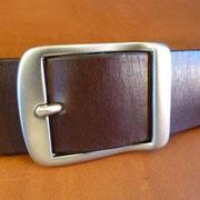 Ceinture cuir  - Fabrication Française -  Marron Foncé  -  4cm  -  Homme/Femme     www.Tribu-Cuir.com     Boucle n°001
