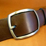 Ceinture cuir  - Fabrication Française -  Marron Foncé  -  4cm  -  Homme/Femme     www.Tribu-Cuir.com     Boucle n°005