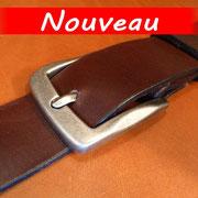 Ceinture cuir  - Fabrication Française -  Marron Foncé  -  4cm  -  Homme/Femme     www.Tribu-Cuir.com     Boucle n°013