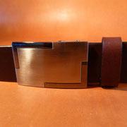 Ceinture cuir  - Fabrication Française -  Marron Foncé  -  3,5cm  -  Homme/Femme     www.Tribu-Cuir.com     Boucle n°025
