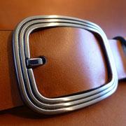 Ceinture cuir  - Fabrication Française -  Marron  -  3,5cm  -  Homme/Femme   www.Tribu-Cuir.com   Boucle n°008