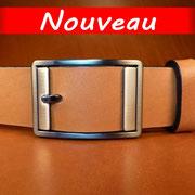 Ceinture cuir  - Fabrication Française -  Marron  -  3,5cm  -  Homme/Femme   www.Tribu-Cuir.com   Boucle n°028