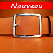 Ceinture cuir  - Fabrication Française -  Marron  -  4cm  -  Homme/Femme    www.Tribu-Cuir.com    Boucle n°019a