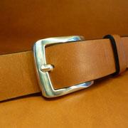 Ceinture cuir  - Fabrication Française -  Marron  -  4cm  -  Homme/Femme     www.Tribu-Cuir.com     Boucle n°010