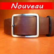Ceinture cuir  - Fabrication Française -  Marron Foncé  -  4cm  -  Homme/Femme     www.Tribu-Cuir.com     Boucle n°019a