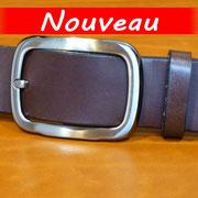 Ceinture cuir  - Fabrication Française -  Marron Foncé  -  3,5cm  -  Homme/Femme     www.Tribu-Cuir.com     Boucle n°033