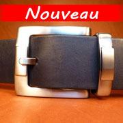 Ceinture cuir  - Fabrication Française -  Noir  -  4cm  -  Homme/Femme   www.Tribu-Cuir.com   Boucle n°020a