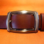 Ceinture cuir  - Fabrication Française -  Marron Foncé  -  3,5cm  -  Homme/Femme     www.Tribu-Cuir.com     Boucle n°015
