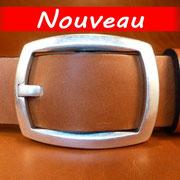 Ceinture cuir  - Fabrication Française -  Marron  -  4cm  -  Homme/Femme     www.Tribu-Cuir.com     Boucle n°018