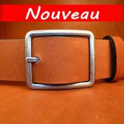 Ceinture cuir  - Fabrication Française -  Marron  -  4cm  -  Homme/Femme    www.Tribu-Cuir.com   Boucle n°019b