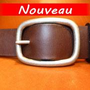Ceinture cuir  - Fabrication Française -  Marron Foncé  -  4cm  -  Homme/Femme     www.Tribu-Cuir.com     Boucle n°017