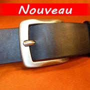 Ceinture cuir  - Fabrication Française -  Noir  -  4cm  -  Homme/Femme   www.Tribu-Cuir.com   Boucle n°013