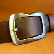 Ceinture cuir  - Fabrication Française -  Marron Foncé  -  4cm  -  Homme/Femme     www.Tribu-Cuir.com     Boucle n°008