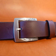 Ceinture cuir  - Fabrication Française -  Marron Foncé  -  3,5cm  -  Homme/Femme     www.Tribu-Cuir.com     Boucle n°006