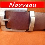 Ceinture cuir  - Fabrication Française -  Marron Foncé  -  4cm  -  Homme/Femme     www.Tribu-Cuir.com     Boucle n°020b