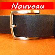 Ceinture cuir  - Fabrication Française -  Noir  -  4cm  -  Homme/Femme   www.Tribu-Cuir.com   Boucle n°014