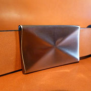 Ceinture cuir  - Fabrication Française -  Marron  -  3,5cm  -  Homme/Femme   www.Tribu-Cuir.com   Boucle n°026