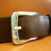 Ceinture cuir  - Fabrication Française -  Marron Foncé  -  4cm  -  Homme/Femme     www.Tribu-Cuir.com     Boucle n°010