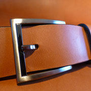 Ceinture cuir  - Fabrication Française -  Marron  -  3,5cm  -  Homme/Femme   www.Tribu-Cuir.com   Boucle n°016