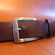 Ceinture cuir  - Fabrication Française -  Marron Foncé  -  3,5cm  -  Homme/Femme     www.Tribu-Cuir.com     Boucle n°005