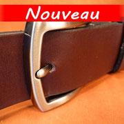 Ceinture cuir  - Fabrication Française -  Marron Foncé  -  4cm  -  Homme/Femme     www.Tribu-Cuir.com     Boucle n°014