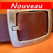 Ceinture cuir  - Fabrication Française -  Marron Foncé  -  4cm  -  Homme/Femme     www.Tribu-Cuir.com     Boucle n°012