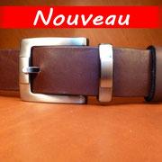 Ceinture cuir  - Fabrication Française -  Marron Foncé  -  4cm  -  Homme/Femme     www.Tribu-Cuir.com     Boucle n°020a