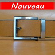 Ceinture cuir  - Fabrication Française -  Marron  -  3,5cm  -  Homme/Femme   www.Tribu-Cuir.com   Boucle n°035