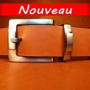 Ceinture cuir  - Fabrication Française -  Marron  -  4cm  -  Homme/Femme    www.Tribu-Cuir.com    Boucle n°020a