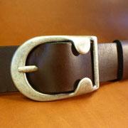 Ceinture cuir  - Fabrication Française -  Marron Foncé  -  4cm  -  Homme/Femme     www.Tribu-Cuir.com     Boucle n°002