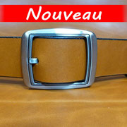 Ceinture cuir  - Fabrication Française -  Marron  -  3,5cm  -  Homme/Femme   www.Tribu-Cuir.com   Boucle n°032