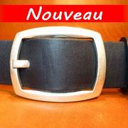 Ceinture cuir  - Fabrication Française -  Noir  -  4cm  -  Homme/Femme   www.Tribu-Cuir.com   Boucle n°018