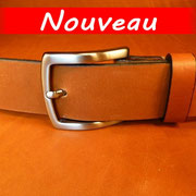 Ceinture cuir  - Fabrication Française -  Marron  -  4cm  -  Homme/Femme     www.Tribu-Cuir.com     Boucle n°014