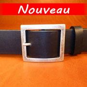 Ceinture cuir  - Fabrication Française -  Noir  -  4cm  -  Homme/Femme   www.Tribu-Cuir.com   Boucle n°016