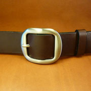 Ceinture cuir  - Fabrication Française -  Marron Foncé  -  4cm  -  Homme/Femme     www.Tribu-Cuir.com     Boucle n°007