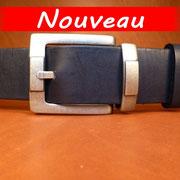 Ceinture cuir  - Fabrication Française -  Noir  -  4cm  -  Homme/Femme   www.Tribu-Cuir.com   Boucle n°020b