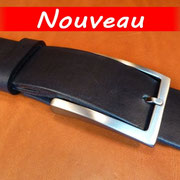 Ceinture cuir  - Fabrication Française -  Noir  -  4cm  -  Homme/Femme   www.Tribu-Cuir.com   Boucle n°015