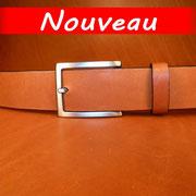 Ceinture cuir  - Fabrication Française -  Marron  -  4cm  -  Homme/Femme     www.Tribu-Cuir.com     Boucle n°015