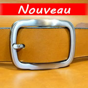 """Ceinture cuir  - Fabrication Française -  Marron  -  3,5cm  -  Homme/Femme   www.Tribu-Cuir.com   Boucle n°033"