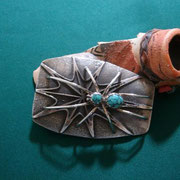 Tufa cast Turquoise Buckle         Fidel Bahe [ Navajo ] Active since 1970s. Traditional; Repousse; applique; Tufe casting; exotic stones