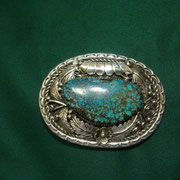 B B   unknown  artist   Spider web turquoise Buckle.