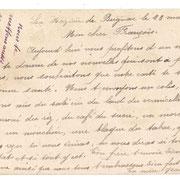 Carte postale accompagnant un colis adressé à François PAUGNAT (de Royères) par sa mère en 1918 (collection BREGAINT).