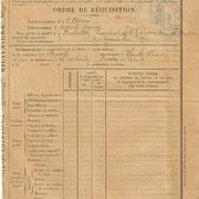 Ordre de réquisition des grains pour les besoins de l'armée (recto), adressé à la Mairie de Neuvic-Entier le 3 mai 1917 (Archives municipales de Neuvic-Entier).