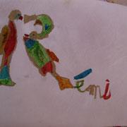 Atelier enluminure : pour les plus petits, réalisation de leur prénom à partir d'un modèle de lettrine