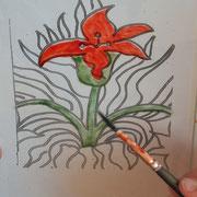 Atelier vitrail : la fleur de la collégiale d'Eymoutiers en cours de réalisation