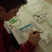 Atelier enluminure : lettrine et miniature - oeuvre d'un élève de 5ème