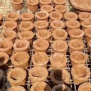 Macetas en fibra de coco.