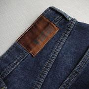 Label gewebt und ohne Leder